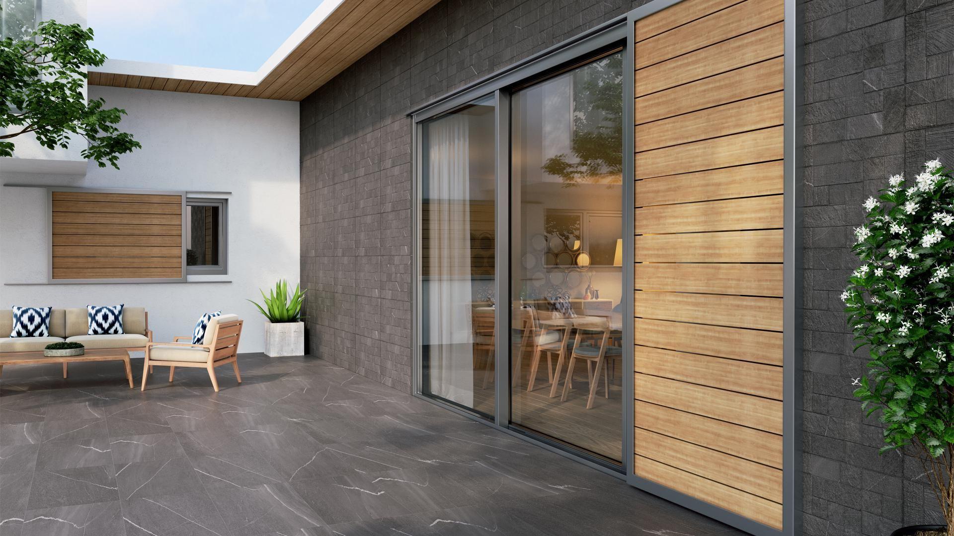 Terrasse En Carrelage Gris Anthracite Aspect Marbre Et Revetement Mural En Relief Decouvrez Nos Dernie Parement Mural Idee Carrelage Carrelage Gris Anthracite