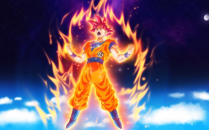 Son Goku De Dragon Ball Z Fondo De Pantalla Super Saiyan: Descargar Fondos De Pantalla 4k, Goku, Fuego, Dragon Ball