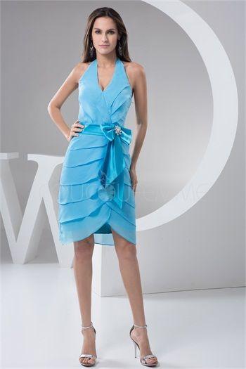 Robe de cocktail pas cher bleu chic licou avec ceinture en mousseline de soie