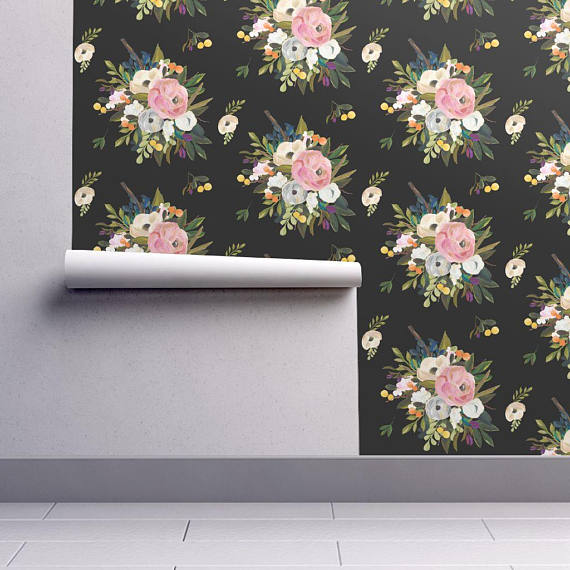 Boho Floral Wallpaper - August Floral - Deep Black by Shop Cabin - Custom Printed Removable Self Adh