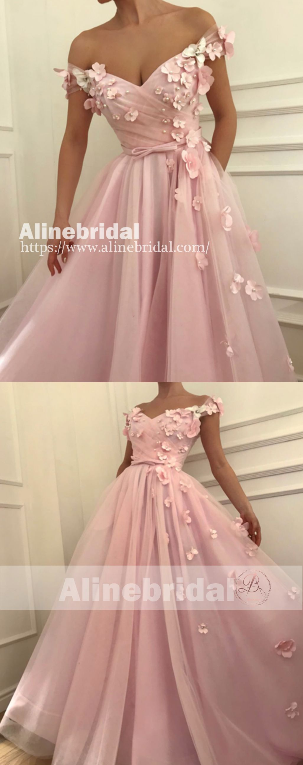 Off shoulder handmade flower with beads pink tulle sweet prom