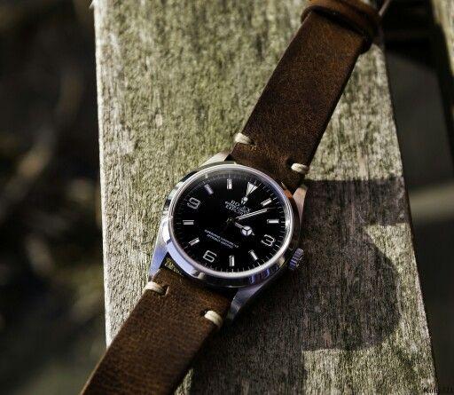 Rolex Explorer 1 36mm 114270 on brown leather strap