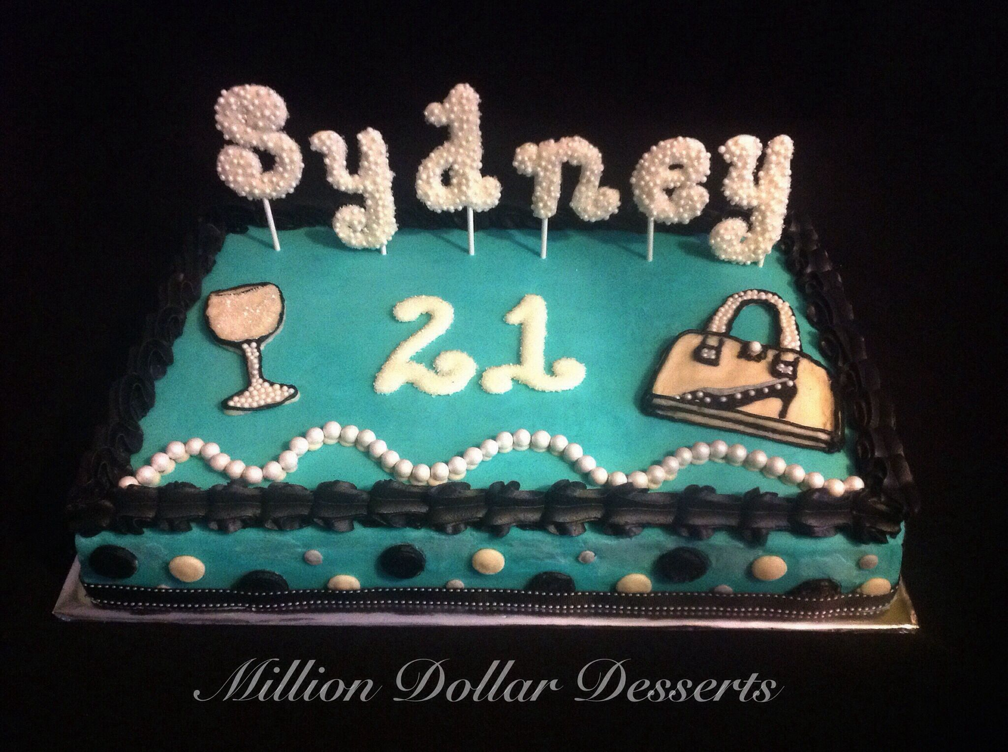 21st Birthday Cake With Wine Glass Purse And Pearls
