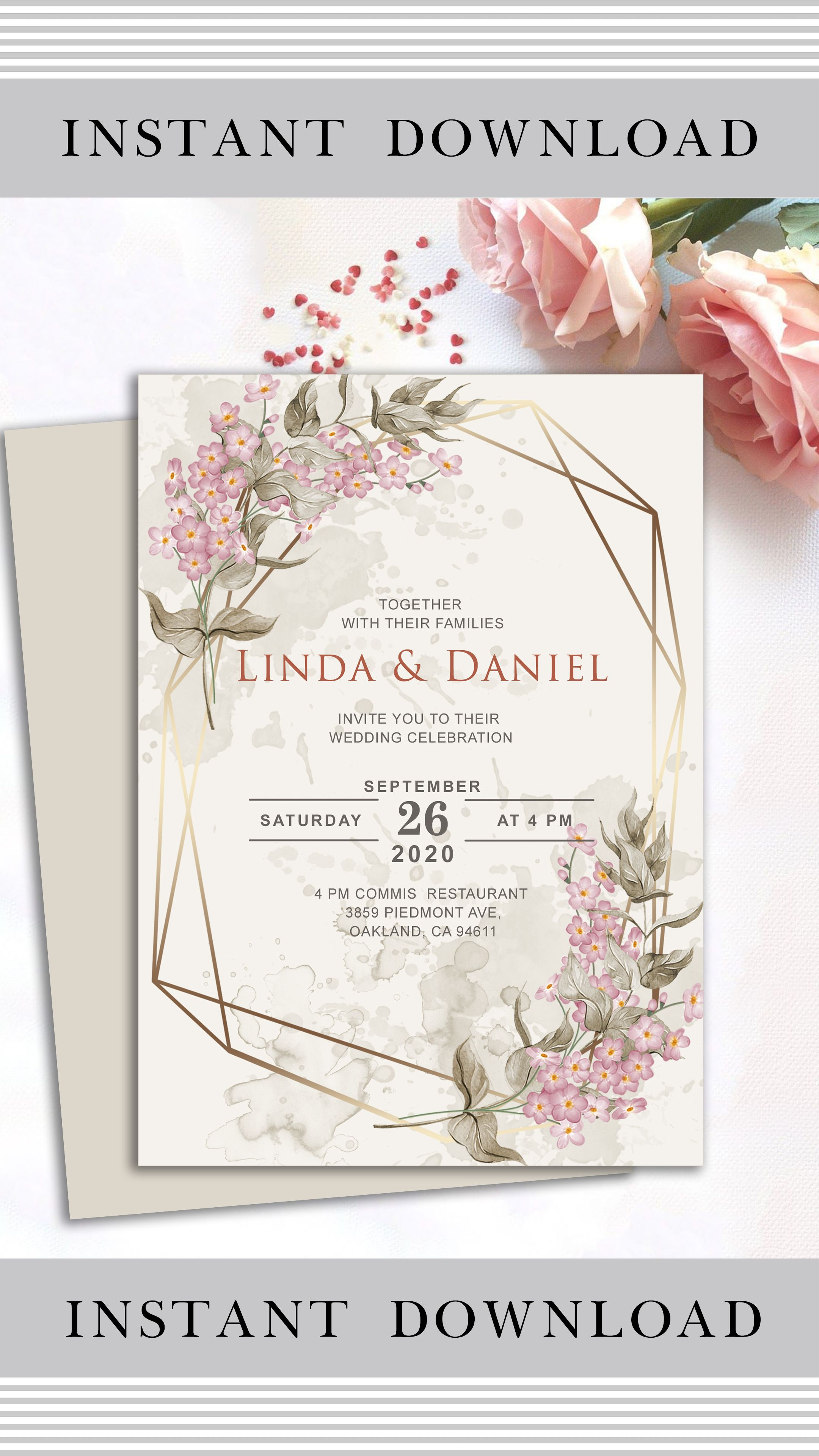 Cottage Chic Geometric Greenery Wedding Invitation Suite Printed Invitations Gold Bohemian Rustic Pink Floral Invitations