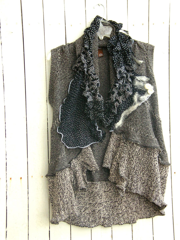 reconstructed vest with nuno felt