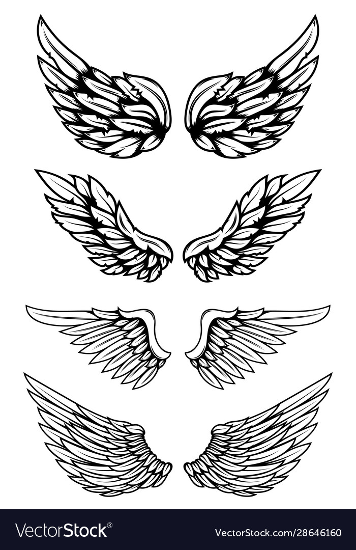 Set Of Illustrations Of Wings In Tattoo Style Isolated On White Background Design Element For Logo Label Wing Tattoo Men Geometric Sleeve Tattoo Wings Tattoo