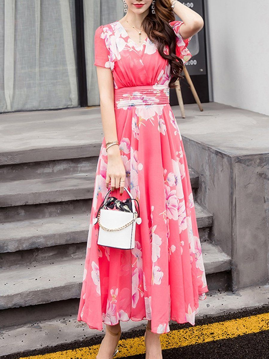 Summer V Neck Floral Printed Chiffon Maxi Dress Maxi Dress Chiffon Maxi Dress Womens Maxi Dresses [ 1200 x 900 Pixel ]