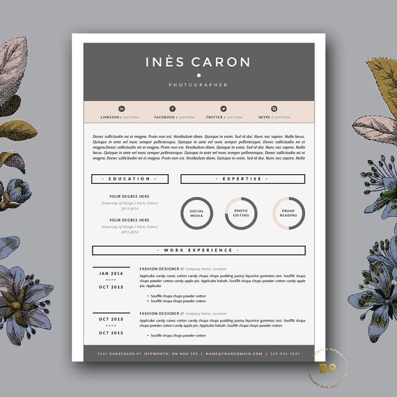 Resume For Creatives Cv Design For Word 3 Page Resume With Etsy In 2021 Resume Template Word Resume Template Creative Cv Template