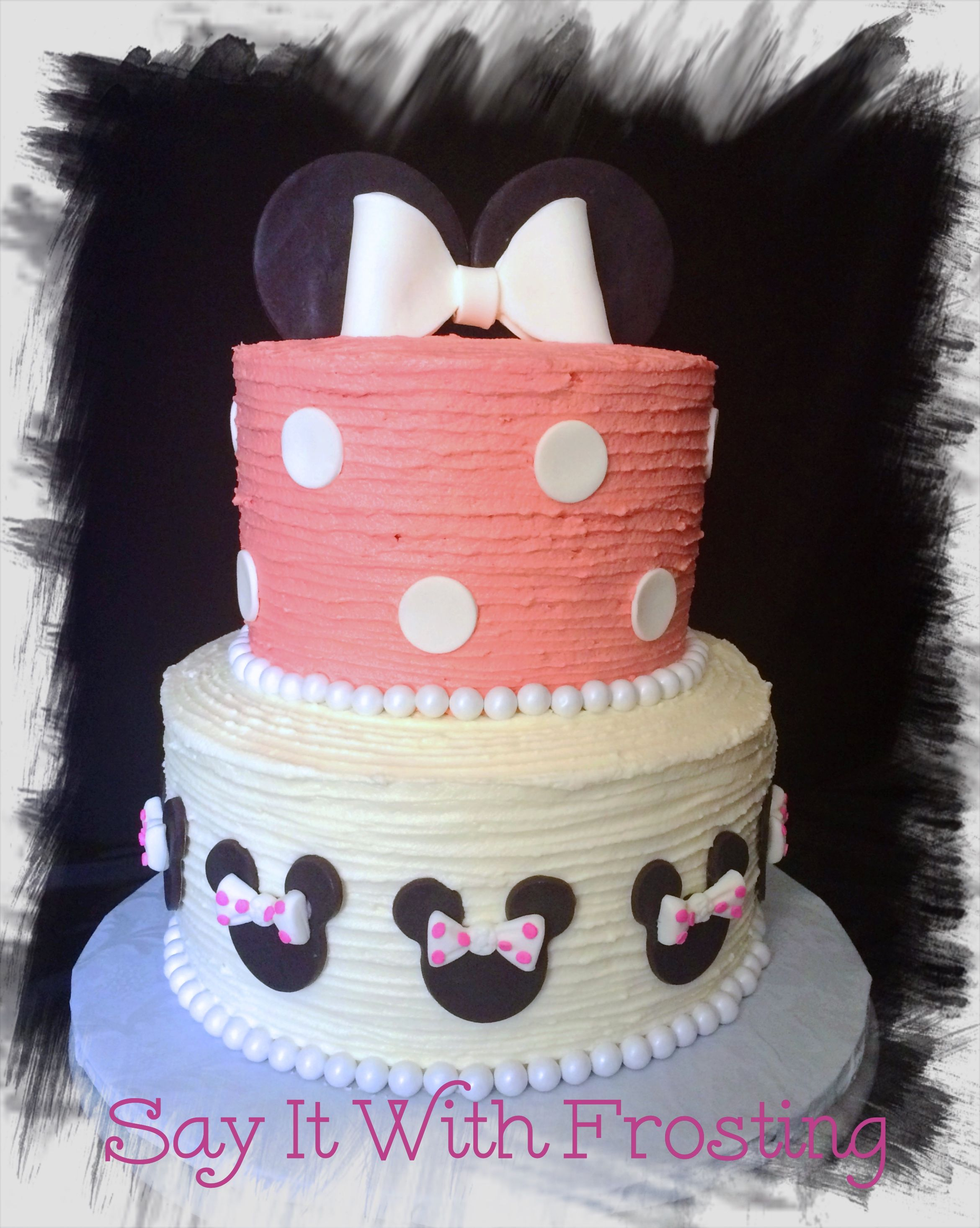 Minnie Mouse themed buttercream birthday cake for a 1st Birthday