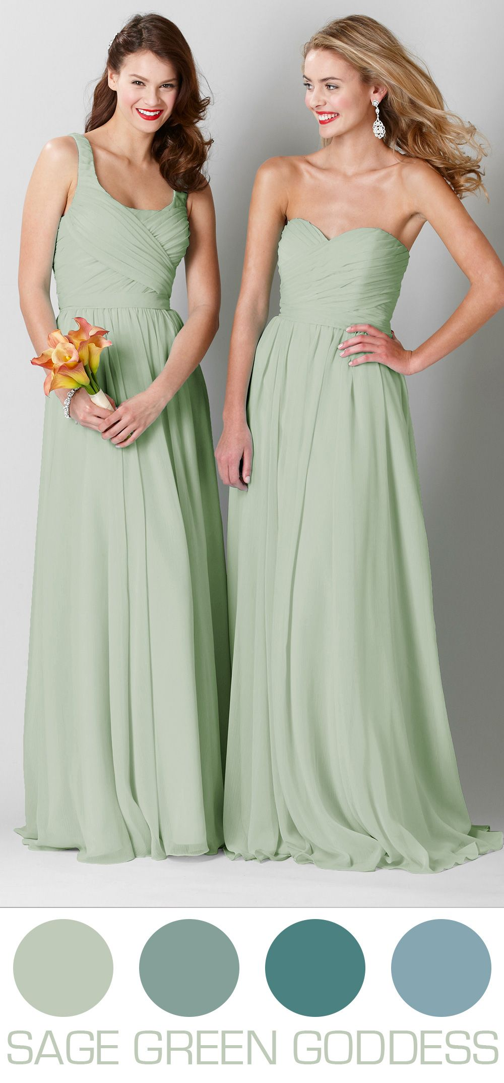 Sage green wedding inspiration featuring long chiffon bridesmaid sage green bridesmaid dresses are stunning in a spring or summer wedding ombrellifo Image collections