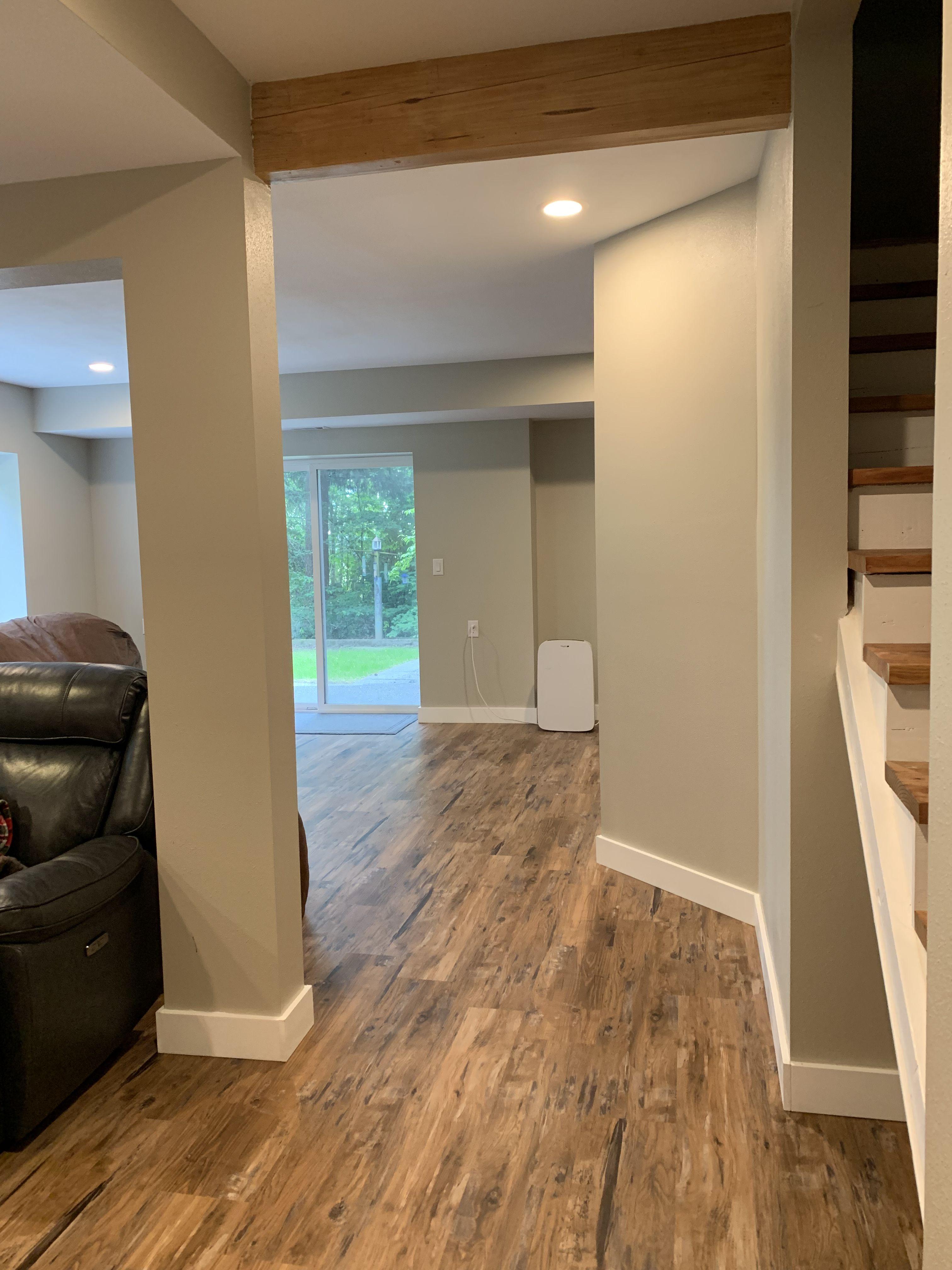 Basement Renovation Using Lifeproof Heirloom Pine Flooring House Flooring Rustic Basement Pine Floors