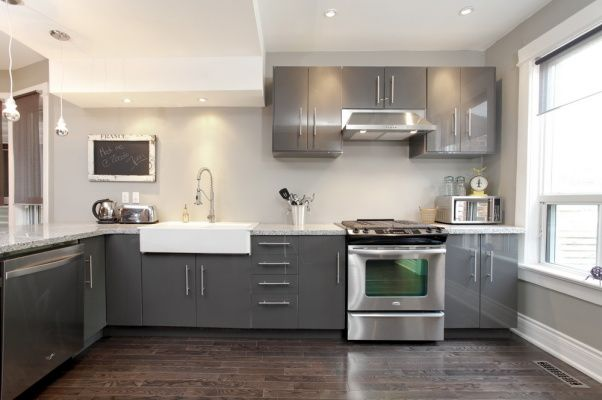 Grey Galore Modern Ikea Kitchen With A Farmers Sink