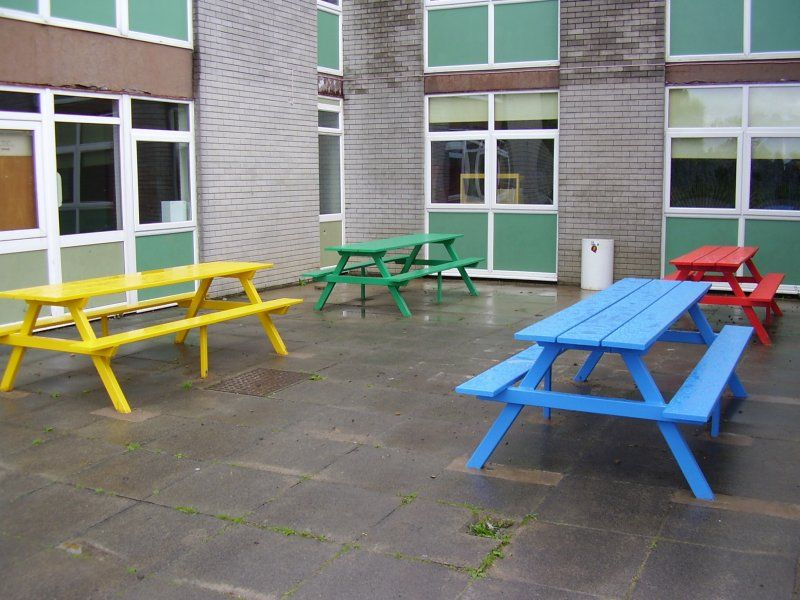 Colourful 8 seater picnic tables! Make lunch time more ...