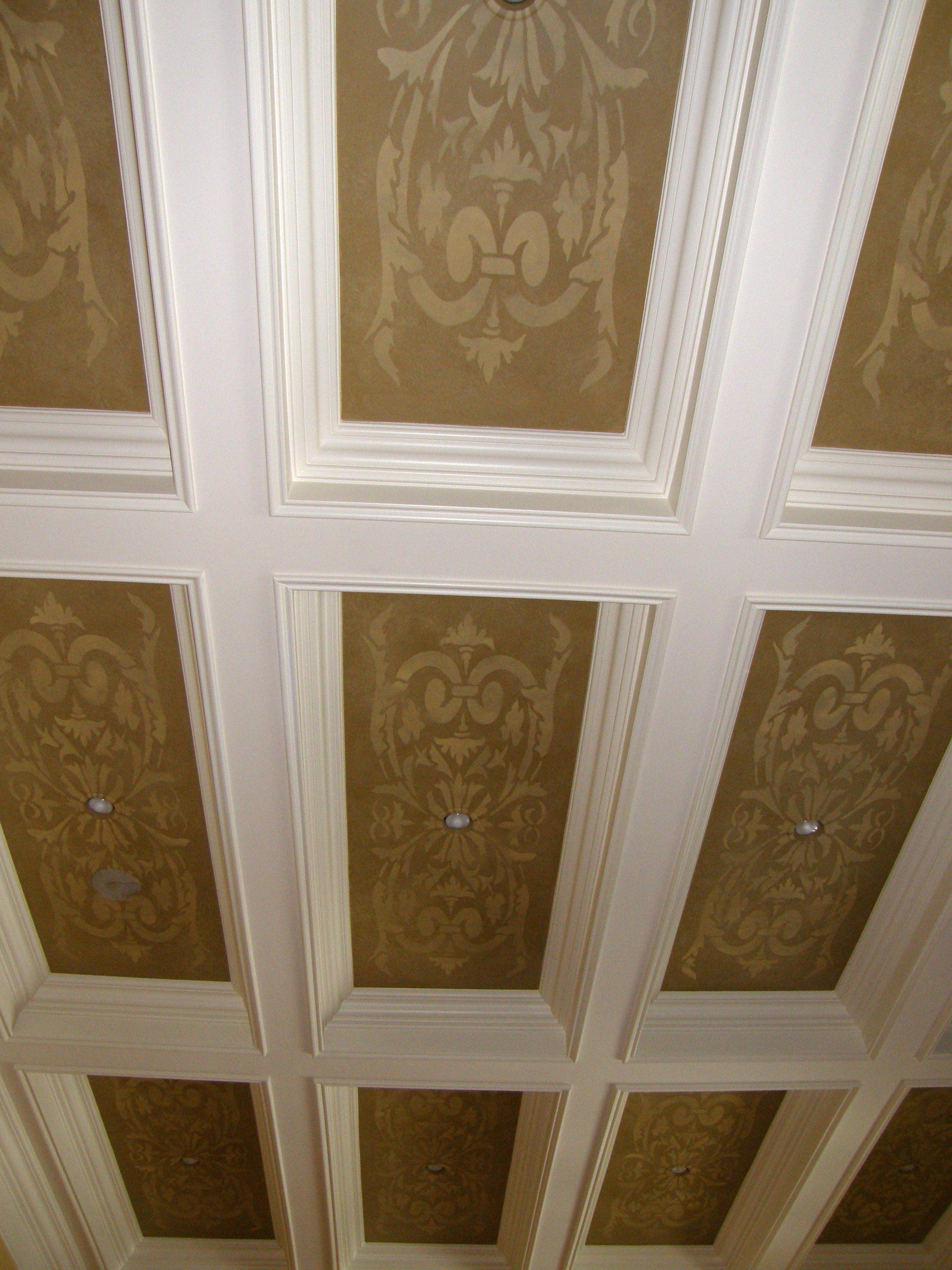 Hand Stenciled Ceiling Wooden Beams Decor Interior