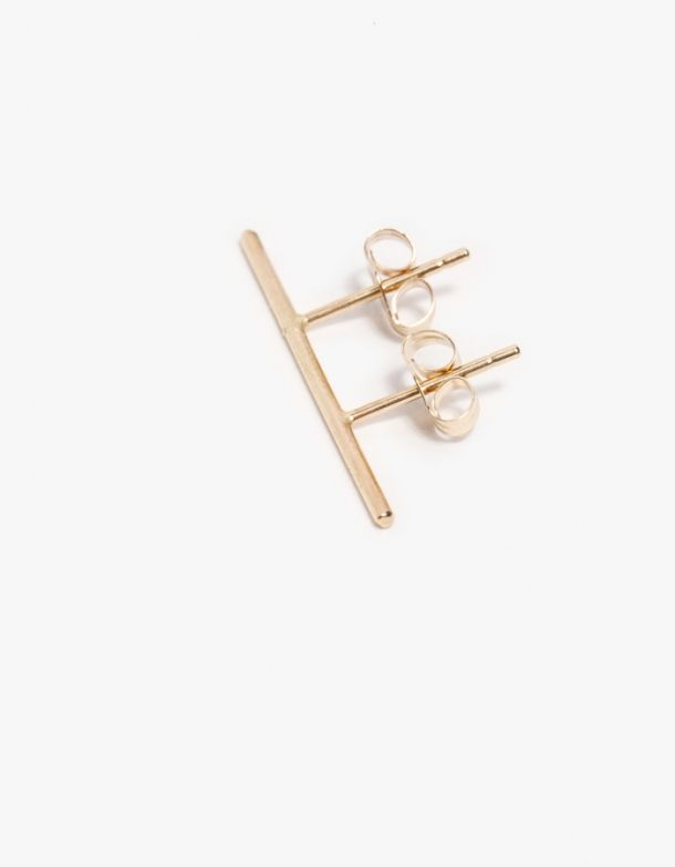 From Kathleen Whitaker Elegant And Minimal Double Post Earring For Lobes With Two Piercings Crafted 14k Gold Backings Included