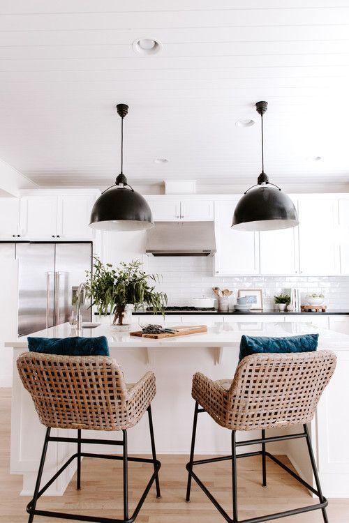 modern farmhouse black and white kitchen ideas farmhouse style kitchen wicker bar stools on farmhouse kitchen black and white id=21213