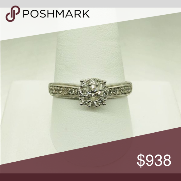 Ring 10 Karat Withe Gold Diamond Engagement Ring It Contains 0 65 Carat Round Diamonds Total Jewelry Rings Rings Diamond Engagement Rings Engagement Rings