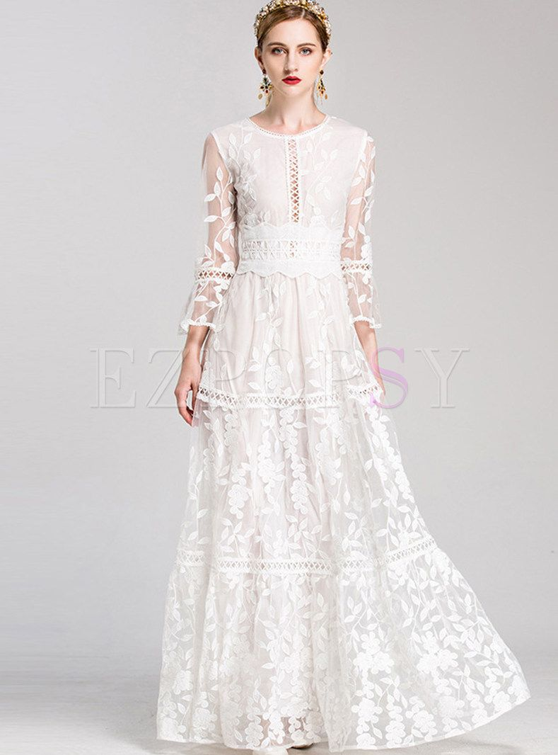 Mesh Flare Sleeve Embroidered Party Maxi Dress Maxi Dress Party Maxi Dress Womens Wedding Dresses [ 1066 x 789 Pixel ]