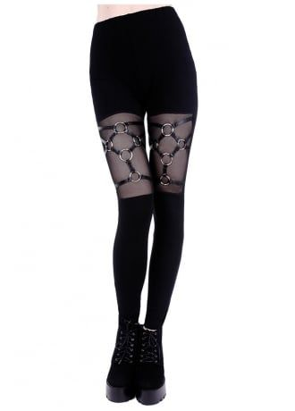 Restyle Faux Leather Strap /& O-Ring Mesh Harness Black NuGoth Witchy Leggings