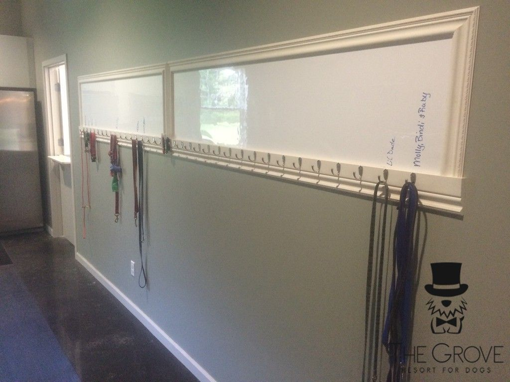 Leash Rack With Dry Erase To Mark The Names Keep Grooming Dogs In The Back Room Would Also Like Dog Boarding Ideas Dog Boarding Kennels Dog Daycare Business