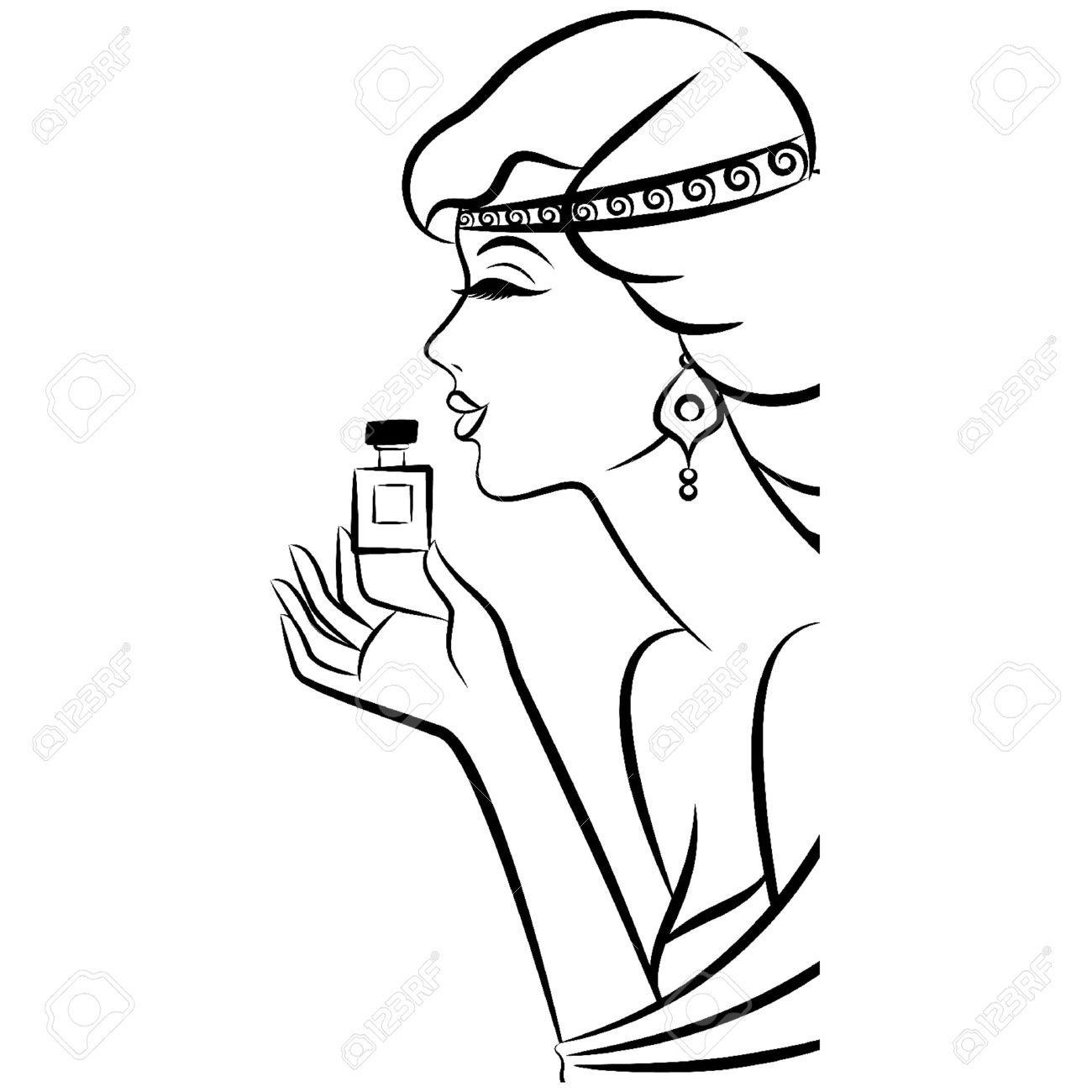 Chica De Moda Del Vintage Con Perfume. Ilustraciones Vectoriales, Clip Art…