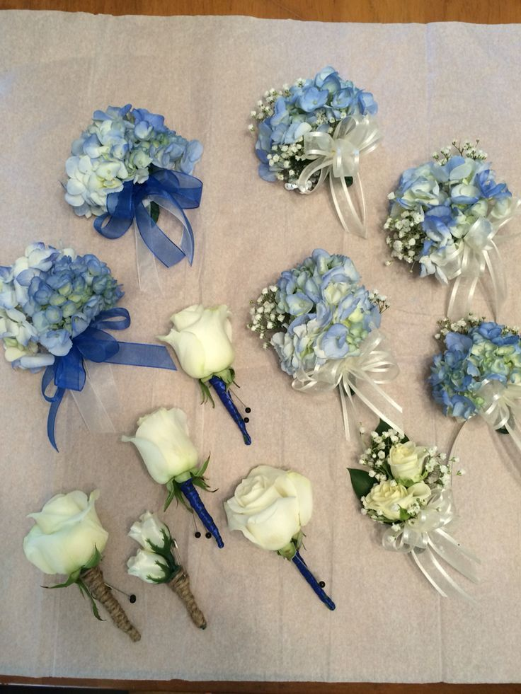 Boutonnières and wrist corsages, with roses and hydrangeas, designed by moi, Bl…