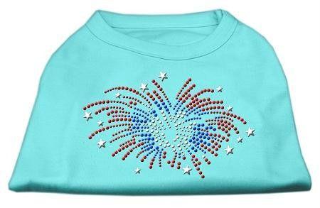 Fireworks Rhinestone Shirt Aqua L (14)