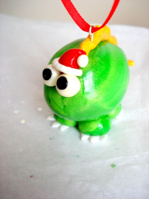 dinosaur christmas ornament polymer clay dinosaur with santa hat cute christmas ornament on etsy 1587