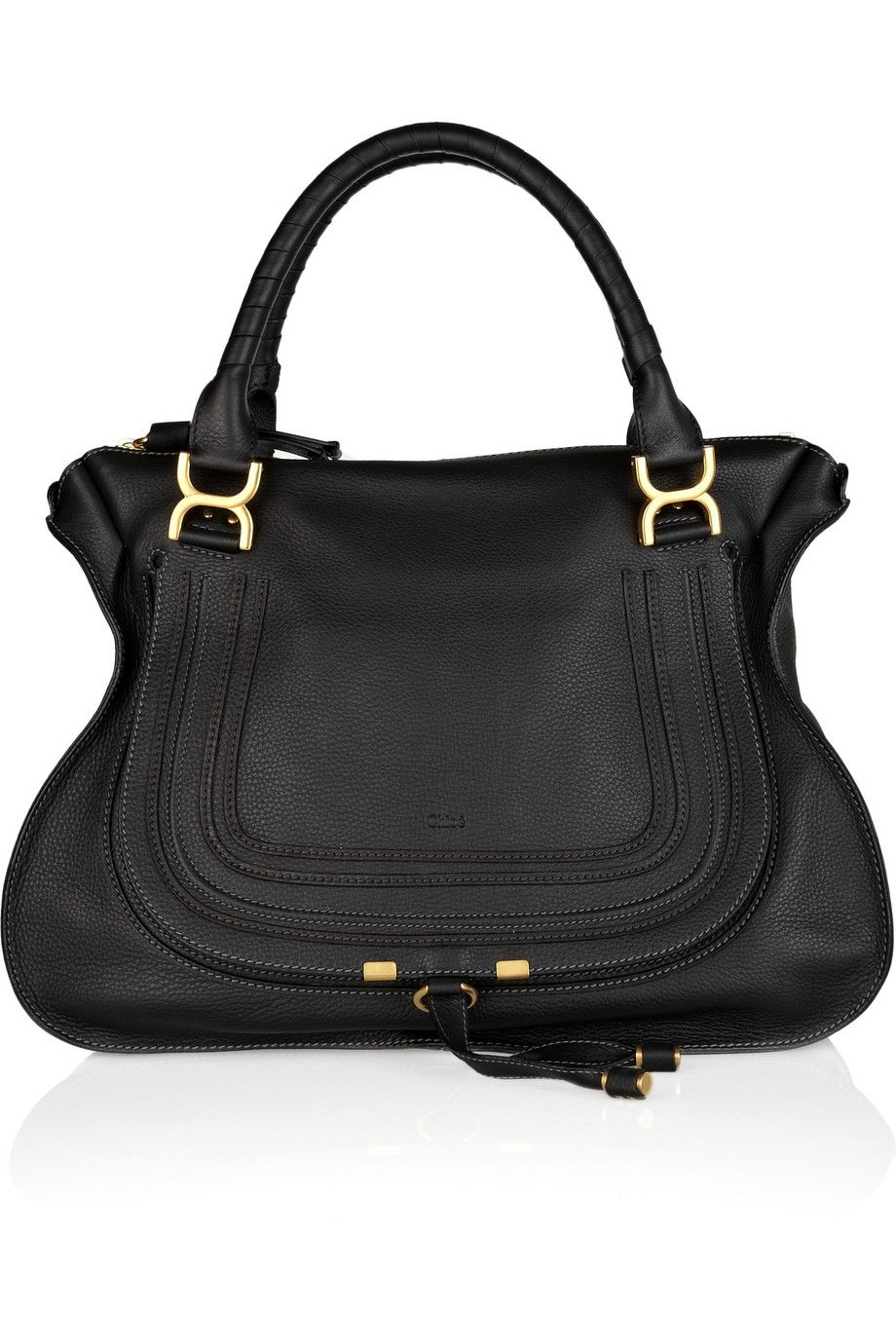 c3eb2b3422c53 Can t go wrong with this simple black bag. Chloé The Marcie large  textured-leather tote