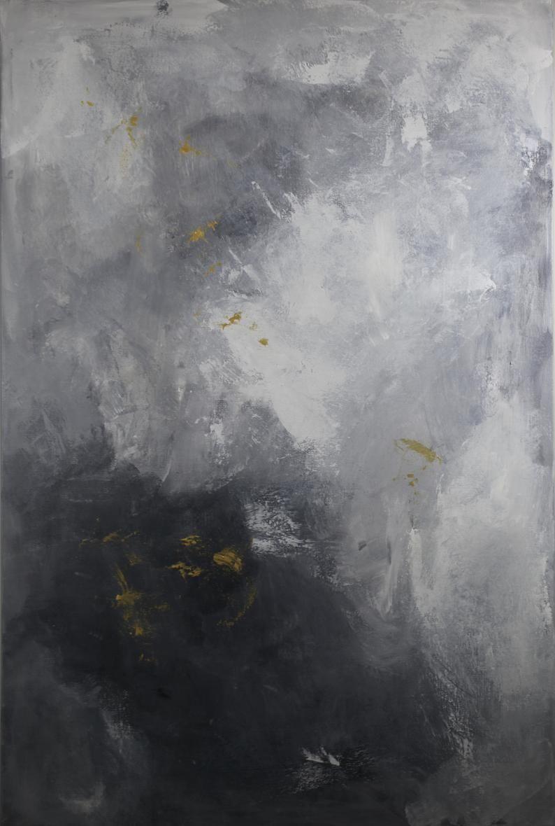 framed modern gray metallic gold abstract black