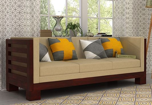 Shop Hizen 3 Seater Wooden Sofa Online In Mahogany Finish To Get The Alluring Inetrior The Contemporar Wooden Sofa Designs Wooden Sofa Set Designs Wooden Sofa
