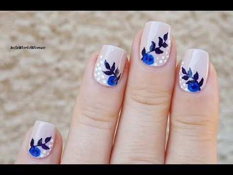 pastel flower nail art for fall using acrylic paint
