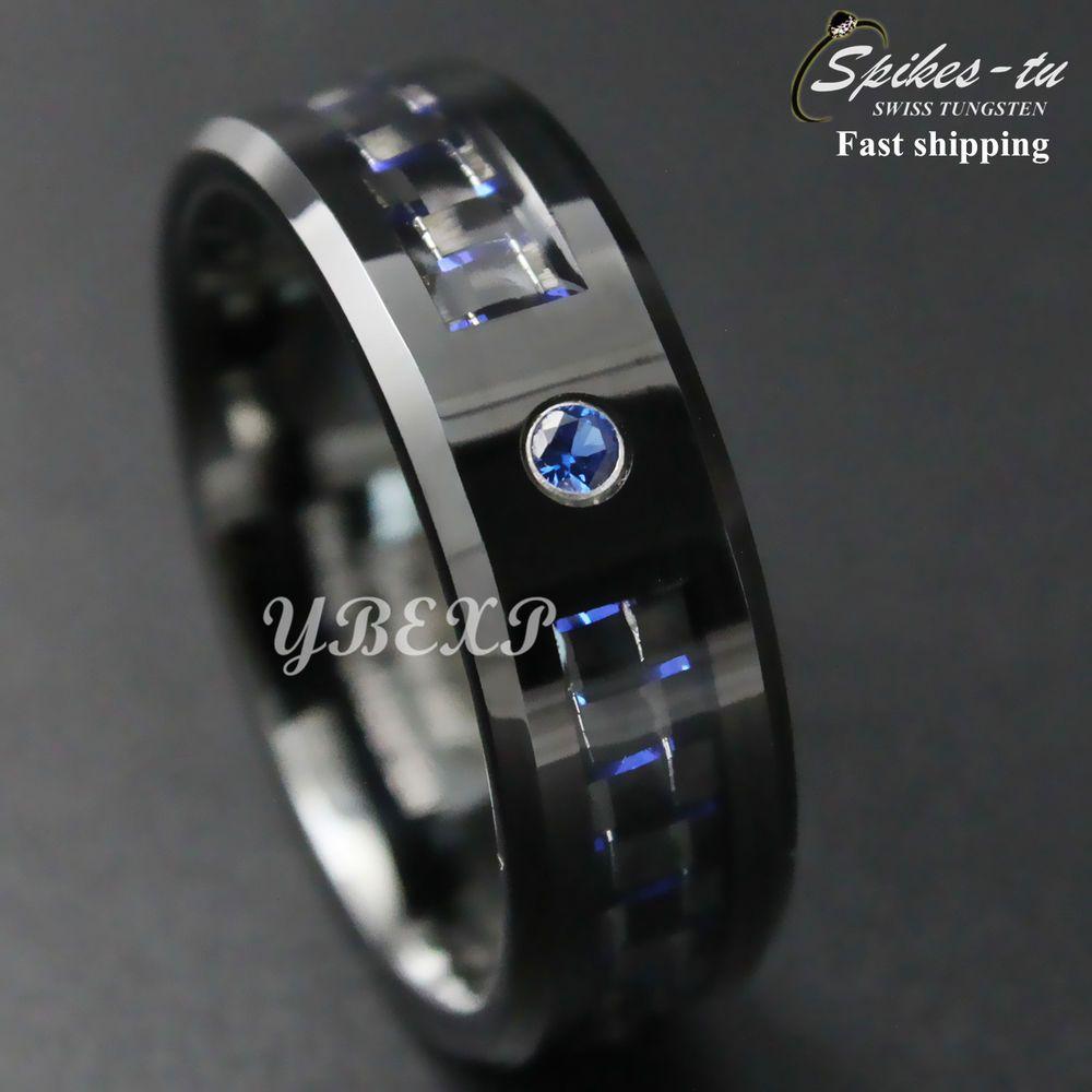 Black And Blue Carbon Fiber Tungsten Ring Blue Diamond Mens Jewelry Wedding Band Band Alianzas Anillos Anillos De Boda