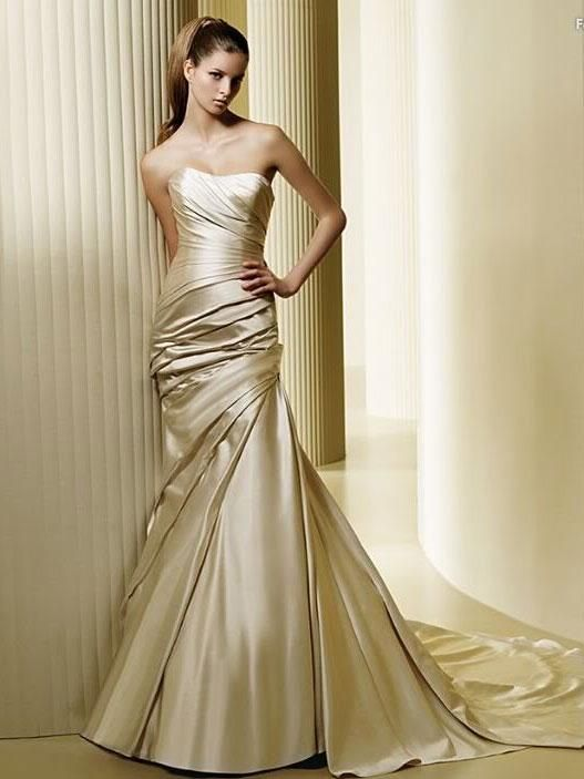 Lovely USD Mermaid Strapless Satin Champagne Wedding Dress weddingdressbraw