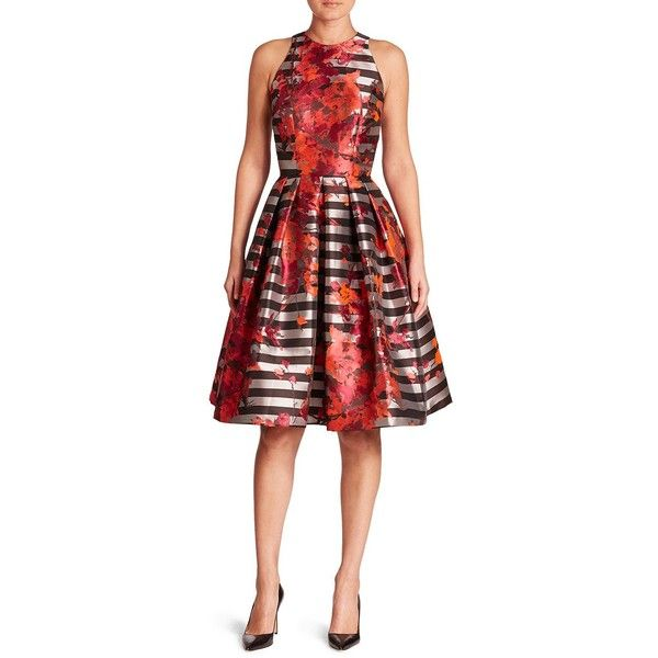 Carmen Marc Valvo Floral & Striped Fit-&-Flare Dress (€720) ❤ liked ...