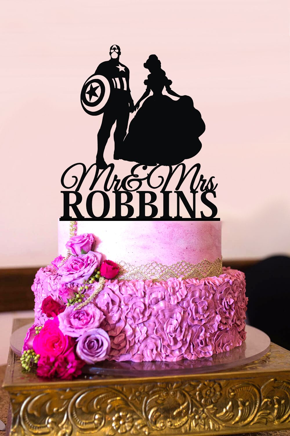 Captain america princess wedding cake topper personalized