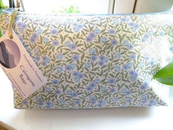 Blue Floral Makeup Bag by cairngormbags on Etsy, $12.00