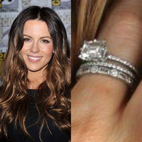 Kate Beckinsale's engagement ring from husband Len Wiseman, has a horizontally set Emerald Cut Center Diamond.