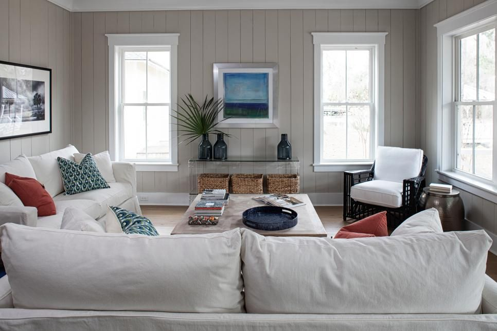 Living Room With Slipcover Sofas And Vertical Shiplap Walls Cottage Living Rooms Cottage Interiors Coastal Cottage Living Room #shiplap #walls #in #living #room