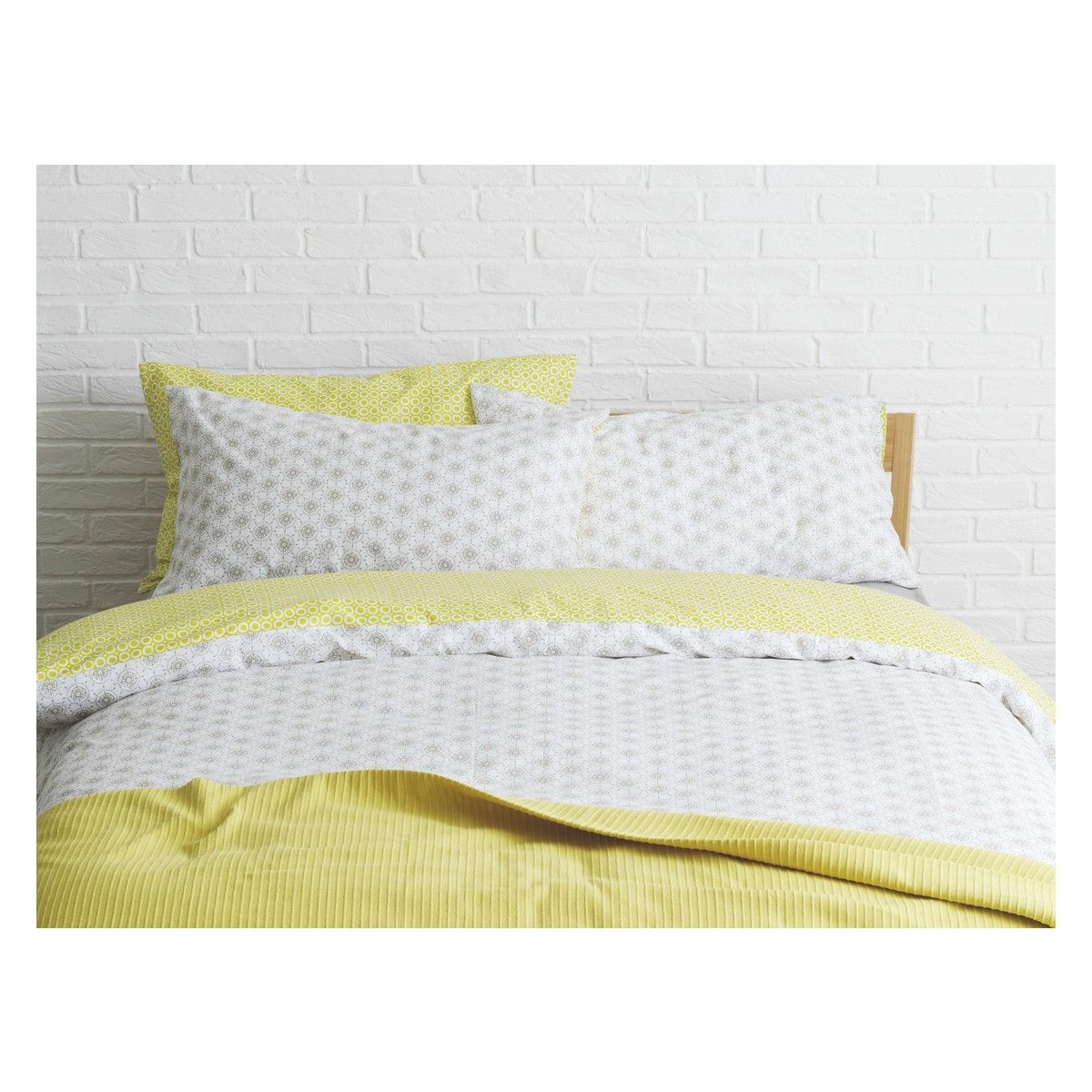 Ditsy Green Grey And Reversible Double Duvet Cover Set