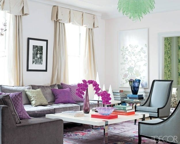 Grey Couch With Purple Accents Apartment Decor Living Room Decor Elle Decor