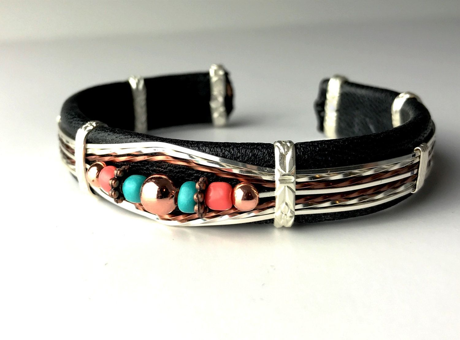 Black Leather Cuff Bracelet, Copper and Silver Wire Wrapped with ...