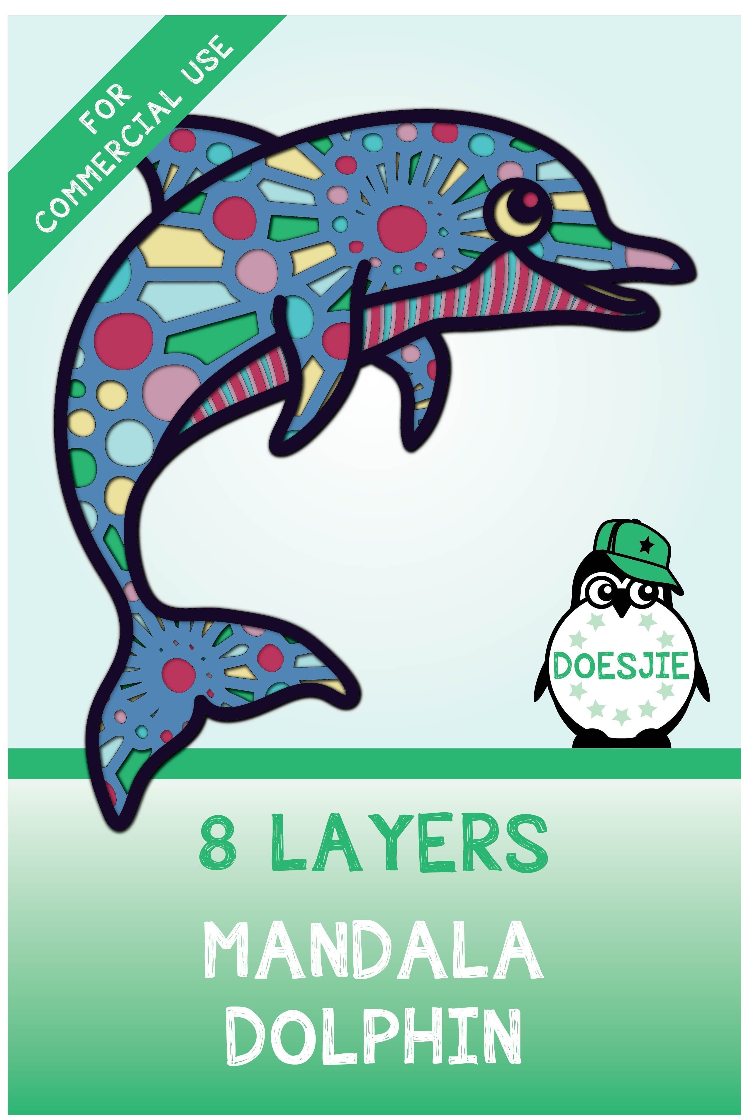 Download 3D Dolphin multi layer mandala SVG in 2020   Vinyl decal ...