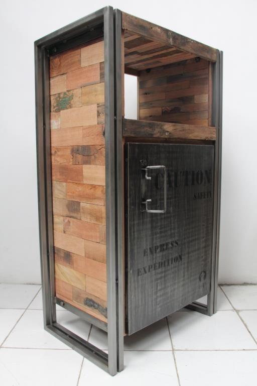 Meuble De Rangement Bois Recyclé 1 Porte 60x107 CARAVELLE