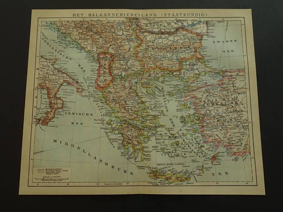 BALKANS old map set of two maps 1915 Dutch antique print about