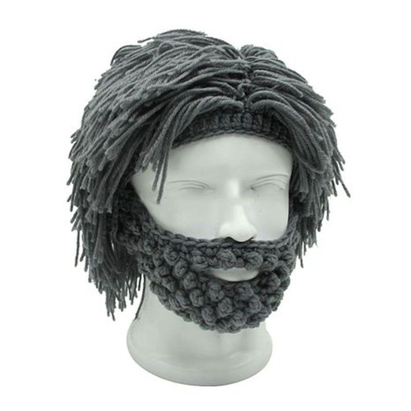 Mens Hobo Wig Beard Crochet funny costume hat Caveman Design ...