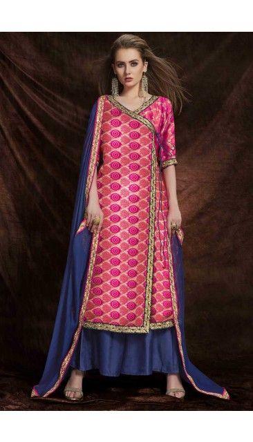 5db2fd5ae7 Pink Jacquard And Banarasi Silk Trouser Suit With Dupatta - DMV14974 ...