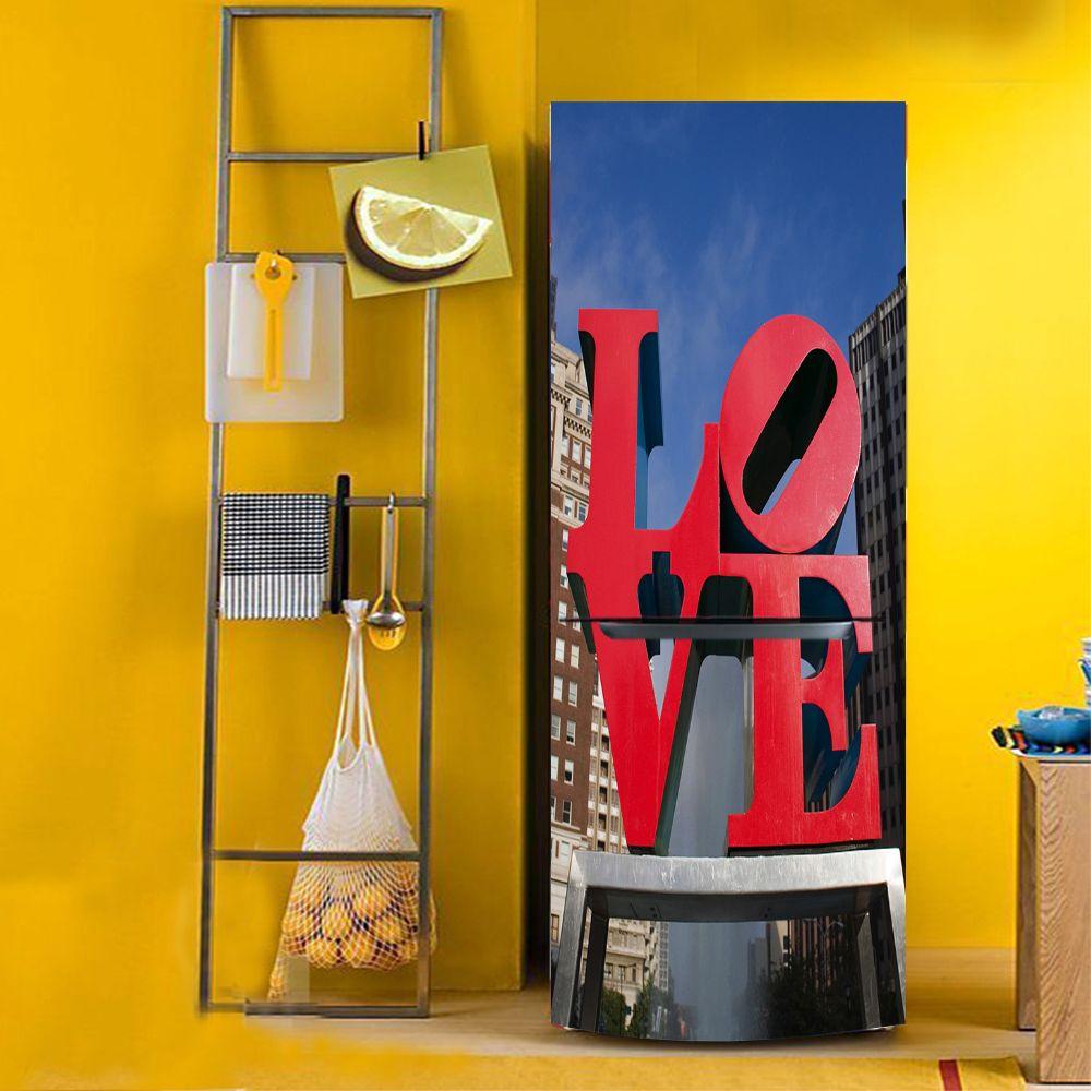 yazi Self Adhesive LOVE PVC Fridge Door Cover Sticker Refrigerator ...