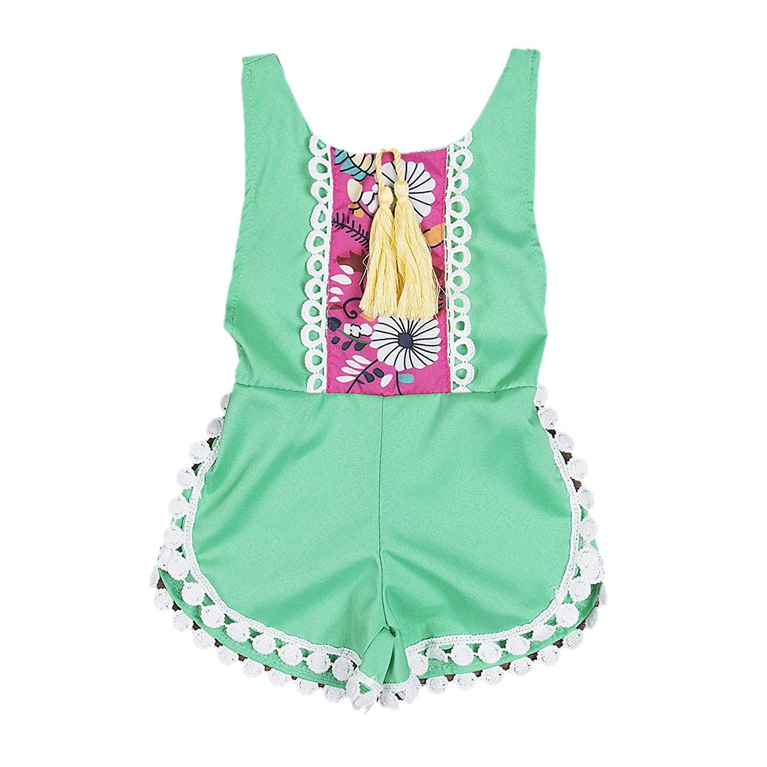 Baby Girls Romper Clothes Ethnic Style Tassels Backless Floral Jumpsuit Summer Outfits