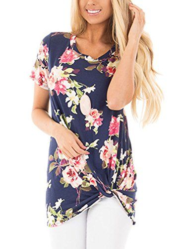 66fe91c7644 Dokotoo Women s Summer Short Sleeve Floral Knot Blouse Casual Tops  shirts   tops  tshirt